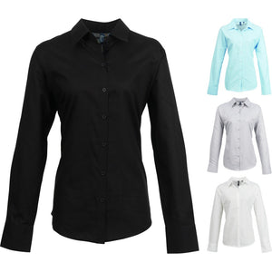 Ladies Women Premier Signature Oxford Cotton Rich Long Sleeve Blouse Shirt