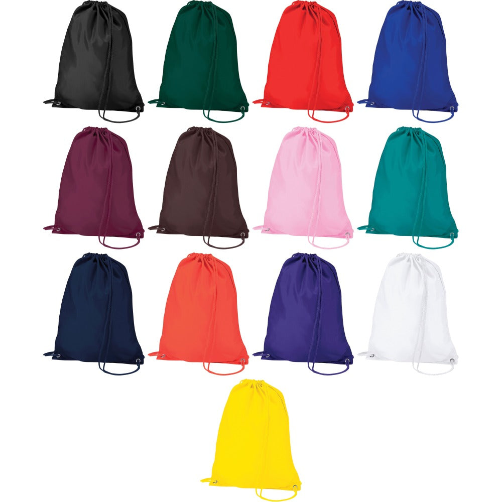 Quadra Plain Colour Gymsac Gym Sport Shoe Stringy Draw String Bag
