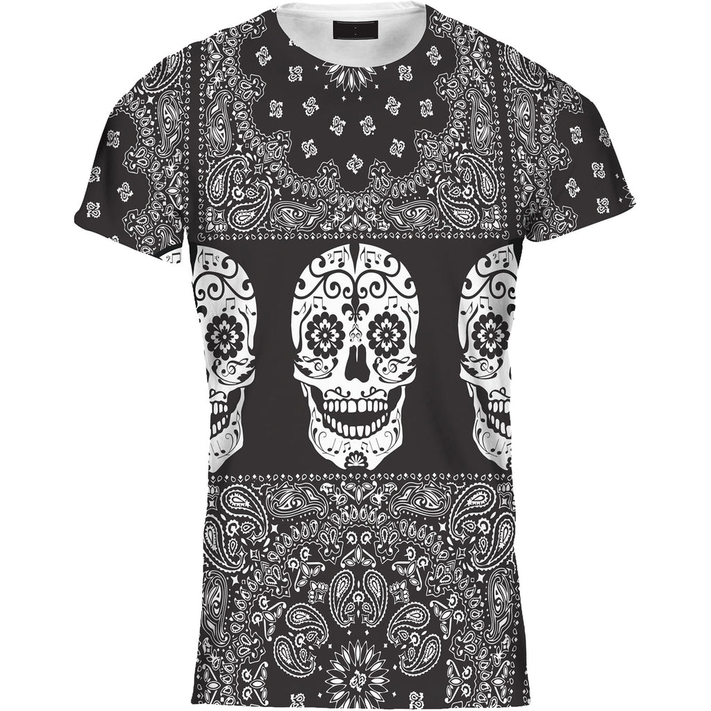 Mens Tshirt Paisley Stripe Skull Black Design