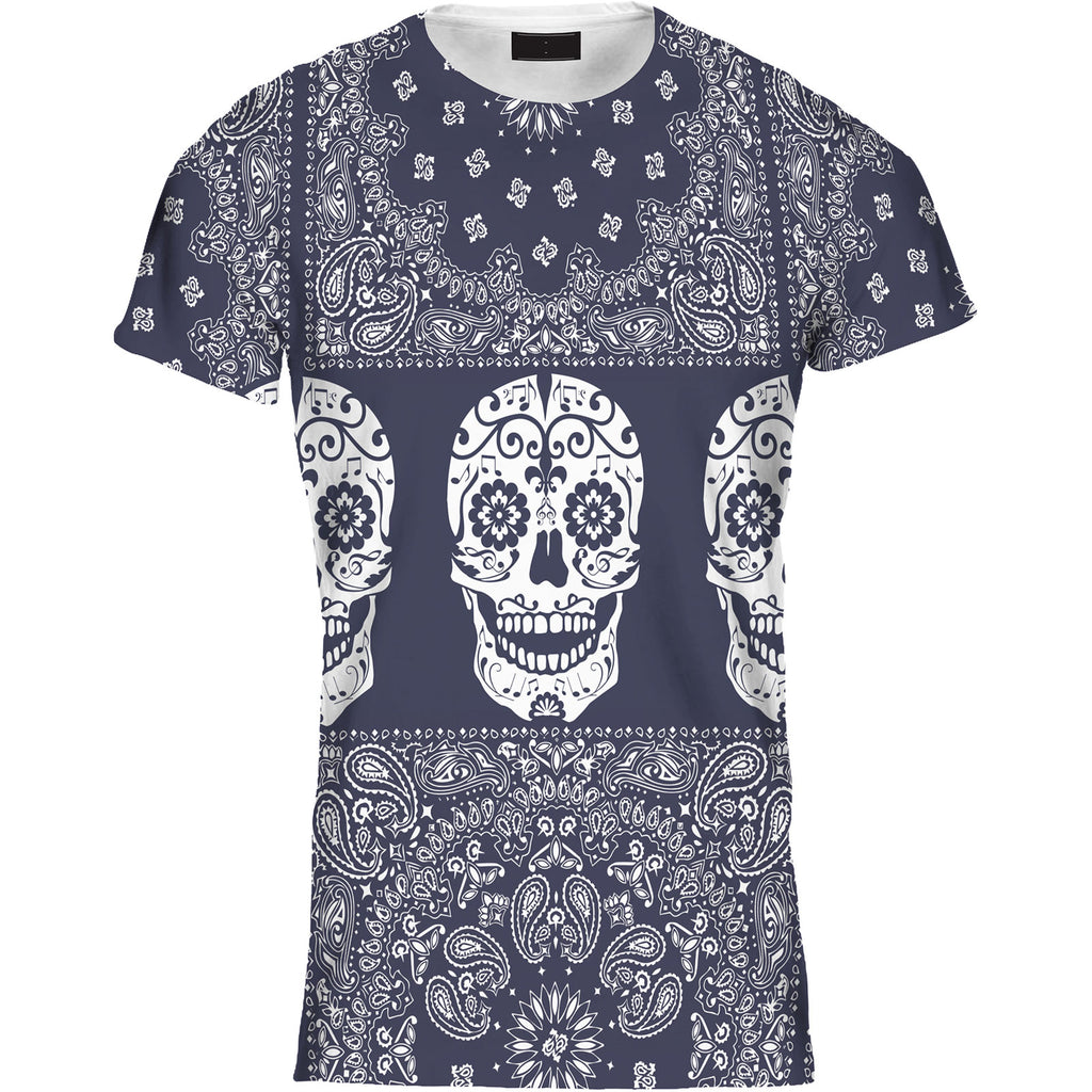 Mens Tshirt Paisley Stripe Skull Blue Design