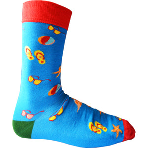 Mens Wow Vacation Holiday Beach Bamboo Rich Novelty Fun Design Socks
