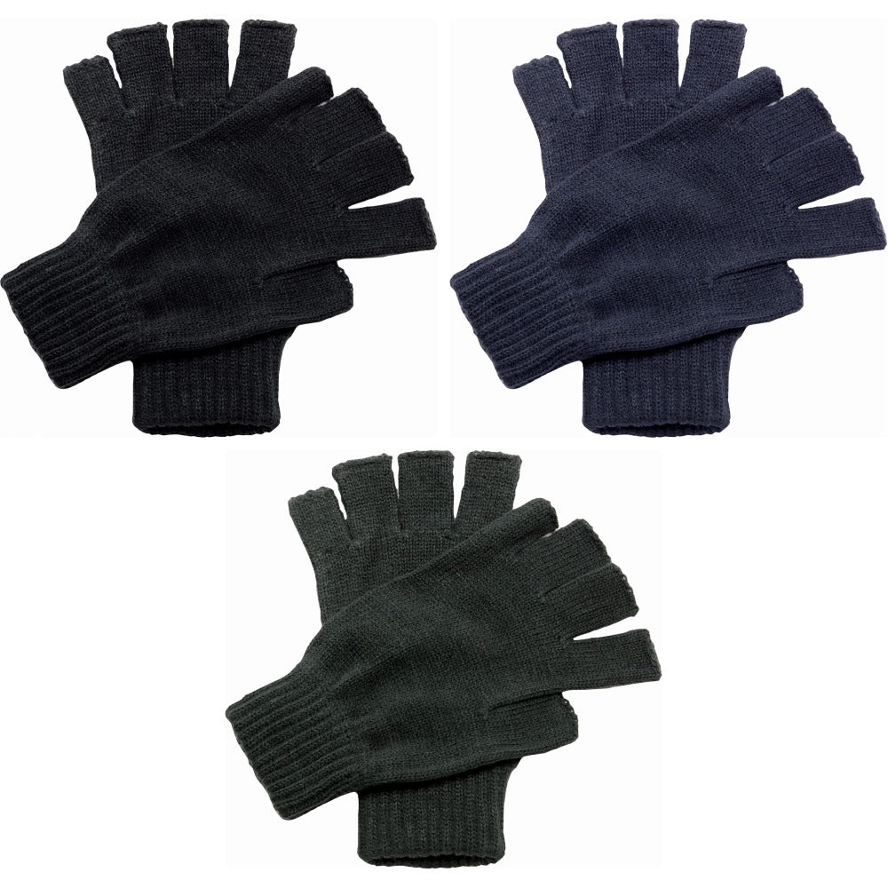 Adult Unisex Regatta Winter Warm Half Finger Fingerless Mitts Gloves