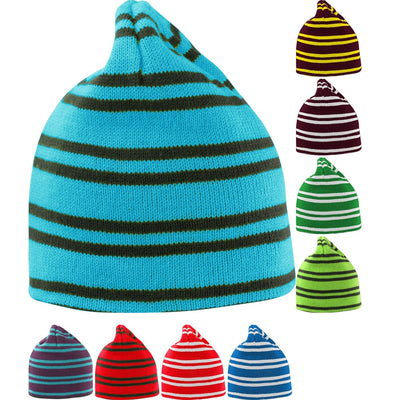 Mens Result Team Reversible Slouch Stripe Stripey Design Beanie Hat