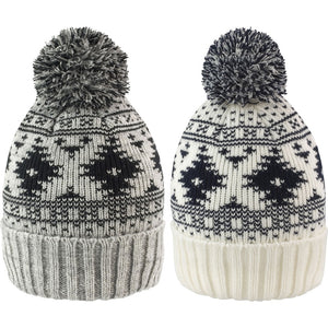 Ladies Women Deluxe Fair Isle Design Pom Pom Winter Warm Knit Wooly Hat