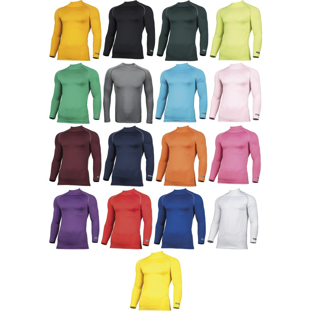 Mens Rhino Thermal Warm Lightweight Colour Baselayer Turtleneck Long Sleeve Top