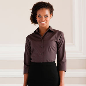 Ladies Women Russell Collection Cotton Rich 3/4 Sleeve Easycare Fitted Shirt