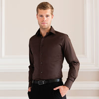 Mens Russell Collection Cotton Rich Long Sleeve Easycare Fitted Shirt