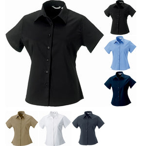 Ladies Women Russell Collection Short Sleeve Classic 100% Cotton Twill Shirt