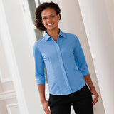 Ladies Women Russell Collection 3/4 Sleeve Easycare Fitted Poplin Shirt