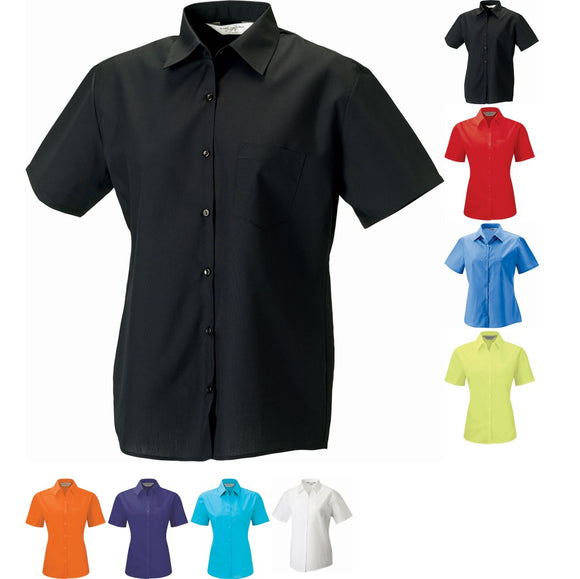 Ladies Women Russell Collection Short Sleeve Polycotton Easycare Poplin Shirt