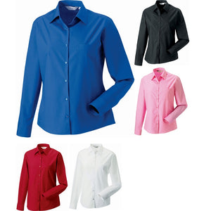 Ladies Women Russell Collection Long Sleeve Pure 100% Cotton Poplin Shirt