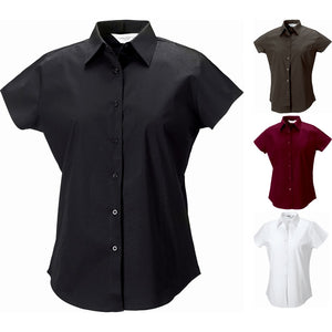 Ladies Women Short Sleeve Easycare Fitted Stretch Cotton Rich Shirt