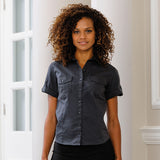 Ladies Women Russell Collection Roll Sleeve Short Sleeve 100% Cotton Shirt