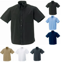 Mens Russell Collection Casual Short Sleeve Classic 100% Cotton Twill Shirt