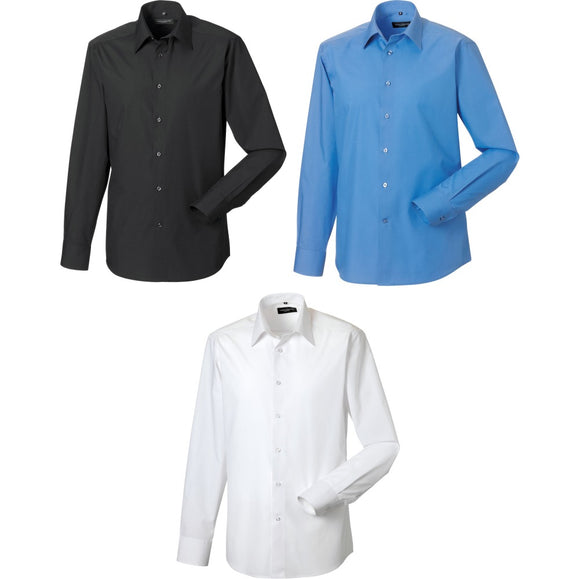 Mens Russell Collection Long Sleeve Polycotton Easycare Fitted Poplin Shirt