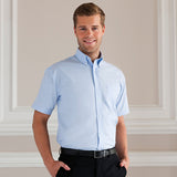 Mens Russell Collection Short Sleeve Oxford Cotton Rich Ultra Smart Shirt