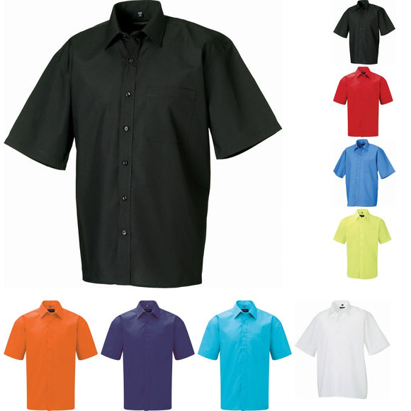 Mens Russell Collection Short Sleeve Polycotton Easycare Poplin Smart Shirt