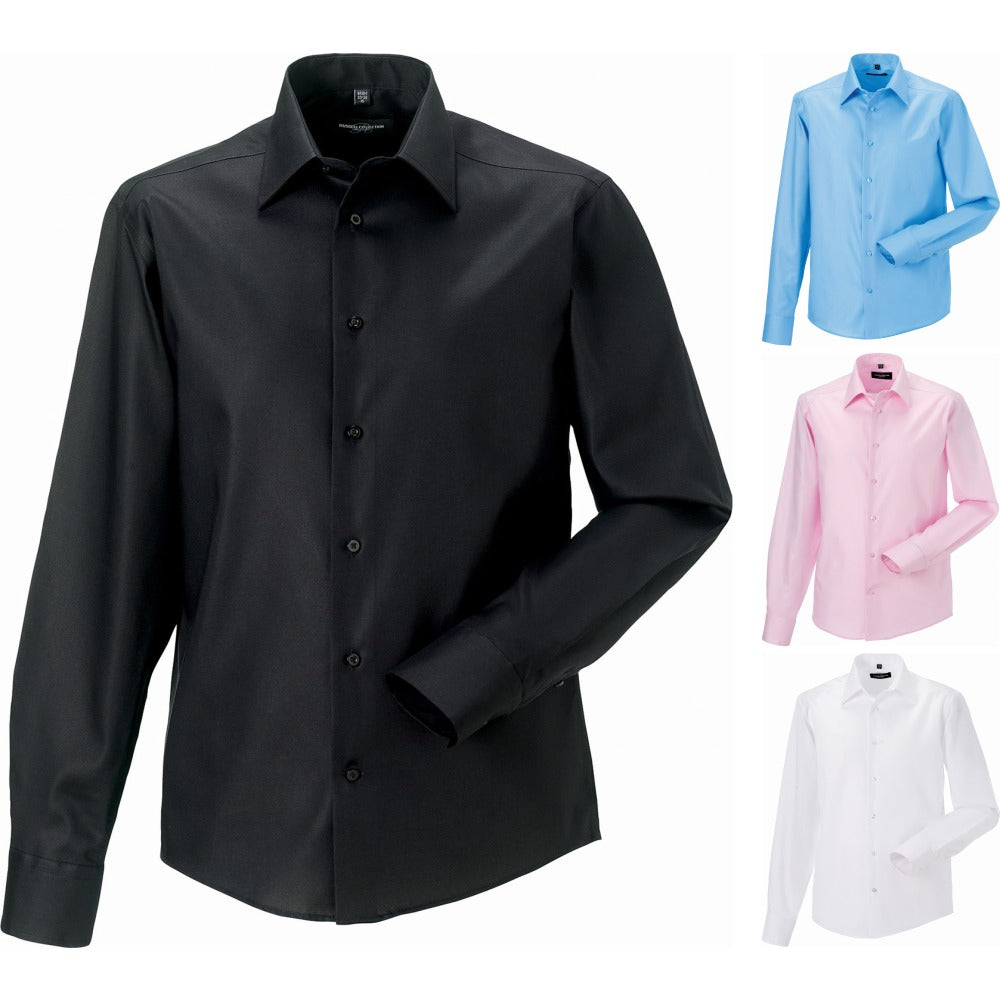 Mens Russell Collection Long Sleeve Tailored Ultimate Non Iron 100% Cotton Shirt