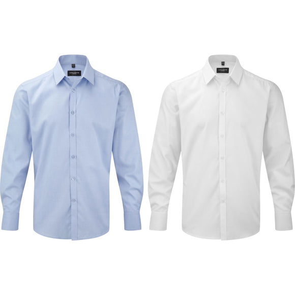 Mens Russell Collection Long Sleeve Herringbone Cotton Rich Tailored Fit Shirt