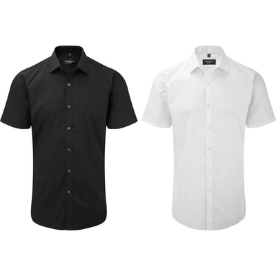 Mens Russell Collection Short Sleeve Ultimate Stretch Cotton Rich Shirt