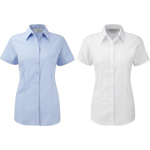 Ladies Women Russell Collection Short Sleeve Ultimate Stretch Cotton Rich Shirt