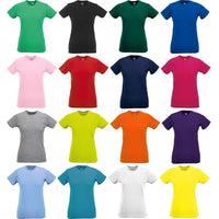 Ladies Women Russell Slim 100% Cotton Colour Short Sleeve T Shirt Top