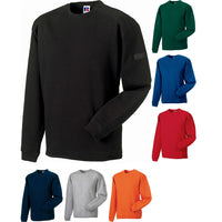 Mens Russell Heavy Duty Crew Neck Colour Cotton Rich Sweatshirt Top (XS to 4XL)