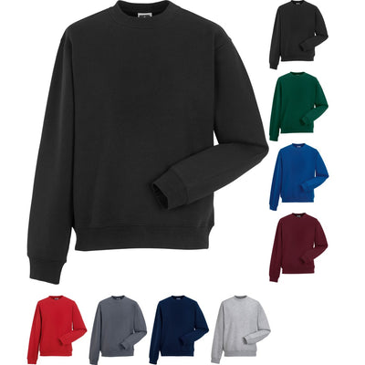 Mens Russell Set In Sleeve Cotton Rich Colour Sweatshirt Top