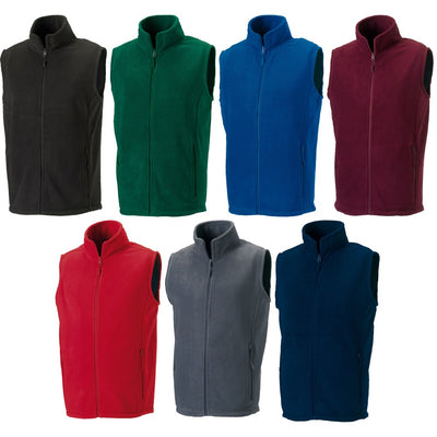 Mens Russell Outdoor Fleece Sleeveless Colour Gilet Top