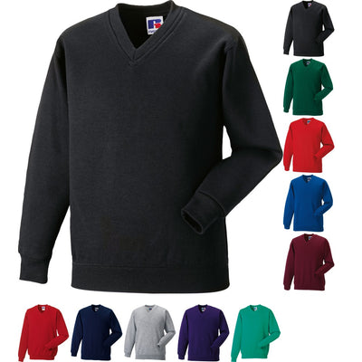 Mens Russell V Neck Cotton Blend Colour Sweatshirt Top
