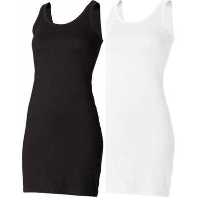 Ladies Women SF Cotton Rich Extra Long Length Sleeveless Stretch Tank Vest Top