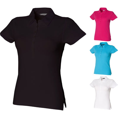 Ladies Women SF Short Sleeve Stretch Cotton Rich Polo Neck Collar Shirt Top