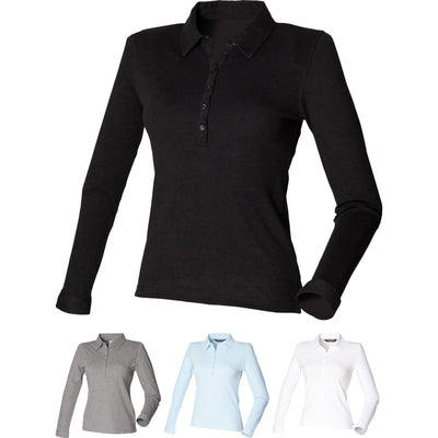 Ladies Women SF Long Sleeve Cotton Rich  Stretch Polo Neck Collar Shirt Top