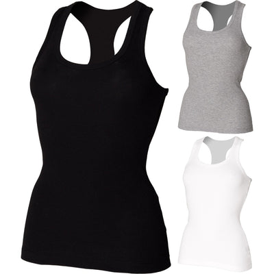 Ladies Women SF Stretch Racer Back Sleeveless Vest Tank Top