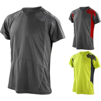 Mens Spiro Waffle Knitted Lightweight Cool Dry Training T Shirt Top