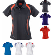 Ladies Women Spiro Team Spirit Performance Light Polo Neck Collar Shirt Top
