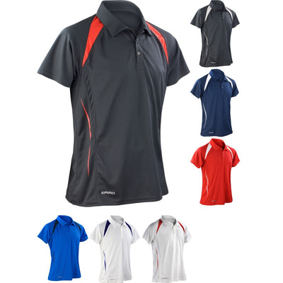 Mens Spiro Team Spirit Performance Lightweight Polo Neck Collar Shirt Top