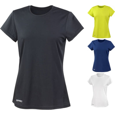 Ladies Women Spiro Quick Dry Lightweight Short Sleeve T Shirt Top