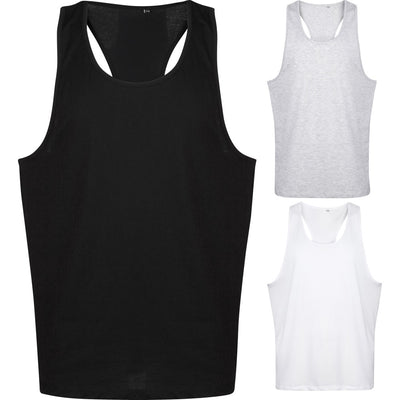 Mens Tanx Cotton Racer Back Long Length Sleeveless Muscle Vest Top