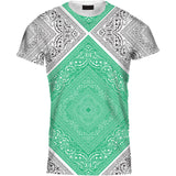 Ladies Tshirt Two Colour Bandana Green Design