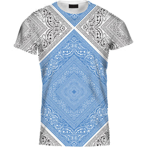 Ladies Tshirt Two Colour Bandana Blue Design