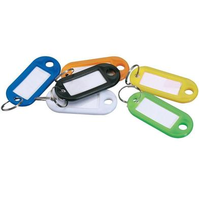 20 x Assorted Coloured Plastic Key Ring Fob Tag Card Car Identitiy Label Name