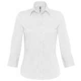 Ladies Women 3/4 Sleeve Poplin Milano Cotton Rich shirt