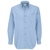 Mens B&C Oxford Smart Long Sleeve Formal Work Cotton Rich Shirt