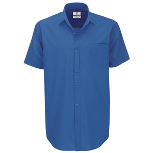 Mens B&C Heritage Short Sleeve Formal Work 100% Cotton Shirt