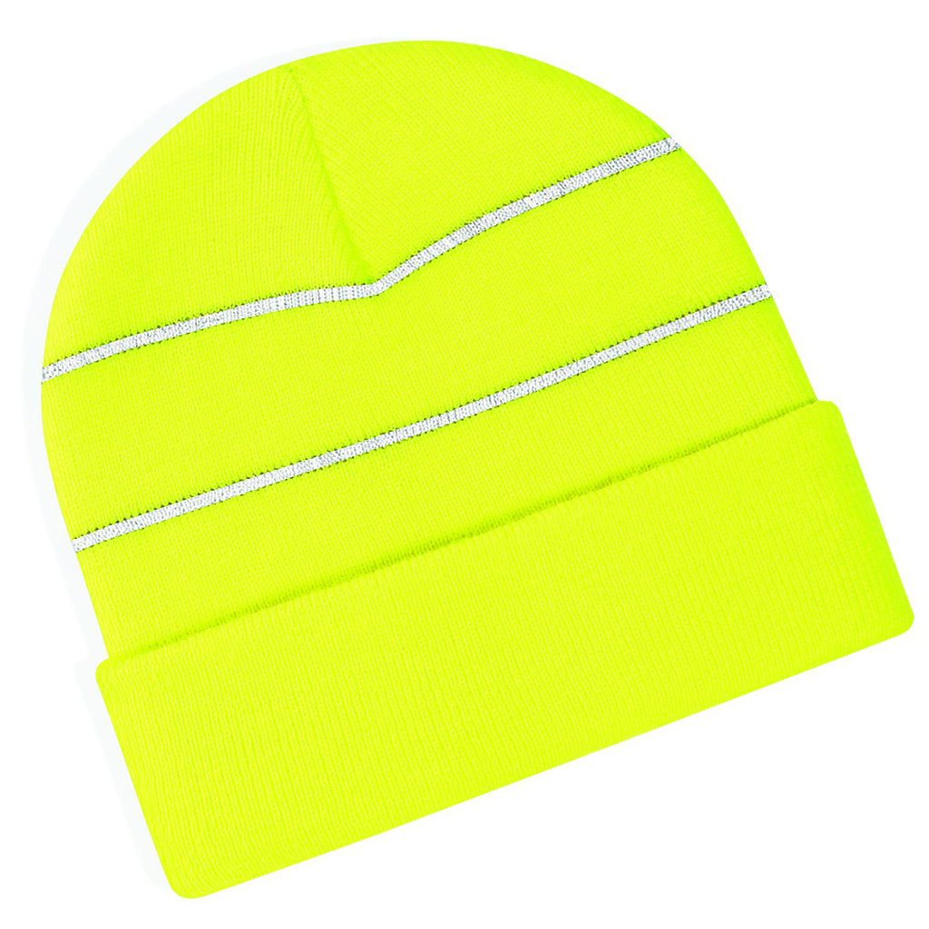 Adult Fluorescent Enhanced High Viz Neon Bright Knitted Thermal Beanie Hat