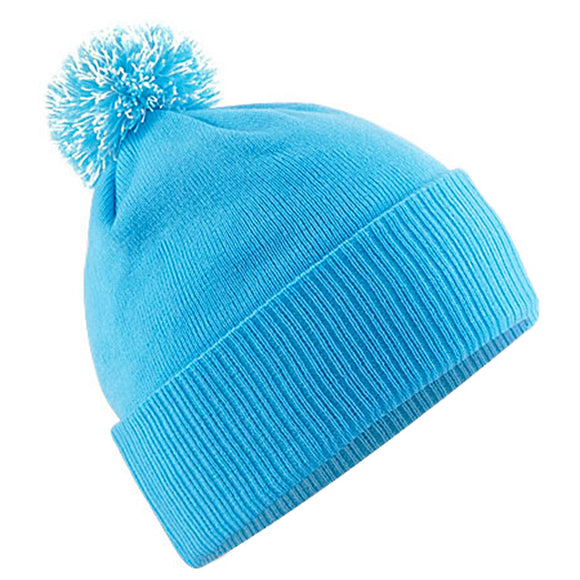 Mens Beechfield Thermal Winter Warm Snowstar Beanie Hat with Pom Bobble