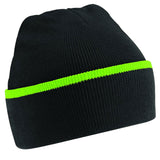 Adult Unisex Teamwear Double Knit Thermal Winter Warm Beanie Hat Stripe Design