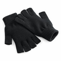 Adult Unisex Finger Less Half Finger Ribbed Cuff Thermal Knit Knitted Gloves