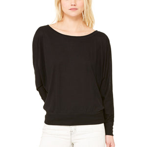 Ladies Women Bella Canvas Flowy Off the Shoulder Long Sleeve T Shirt Top